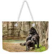 Cross River Pregnant Gorilla And Children Weekender Tote Bag