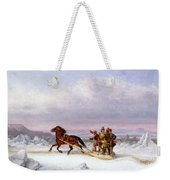 Crossing The Saint Lawrence From Levis To Quebec On A Sleigh Weekender Tote Bag by Cornelius Krieghoff