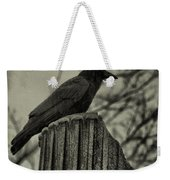 Crow Perched On A Old Column In Rain Weekender Tote Bag