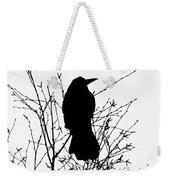 Crow Rook Perched In A Tree With Pare Branches In Winter Weekender Tote Bag
