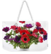 crown Anemone in a white vase Weekender Tote Bag
