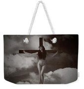Crucifix And Clouds In Sepia Weekender Tote Bag