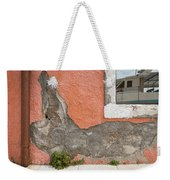 Crumbled Plaster Of An Orange Wall, Reflection Of A Boat In The Window Weekender Tote Bag