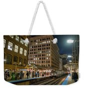 Cta Pulls Into The State-lake Street Station Chicago Illinois Weekender Tote Bag