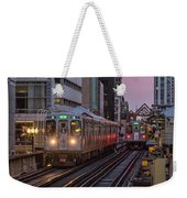 Cta Train On The L At Dusk Chicago Illinois Weekender Tote Bag
