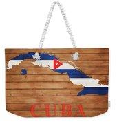 Cuba Rustic Map On Wood Weekender Tote Bag