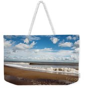 Cumulus Clouds Passing Across The Beach At Skegness Lincolnshire England Weekender Tote Bag