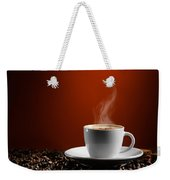 Cup Of Coffe Latte On Coffee Beans Weekender Tote Bag