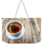Cup Of Hot Tea On Wood Table Weekender Tote Bag