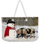Curious Piglets And Snowman Weekender Tote Bag