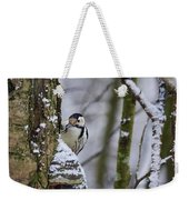 Curious White-backed Woodpecker Weekender Tote Bag