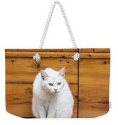 Curious White Cat  Weekender Tote Bag