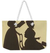 Cut Silhouette Of Two Women Facing Right 1837 Weekender Tote Bag