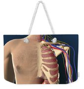 Cutaway View Of Male Chest Showing Lung Weekender Tote Bag