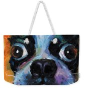 Cute Boston Terrier Puppy Art Weekender Tote Bag by Svetlana Novikova
