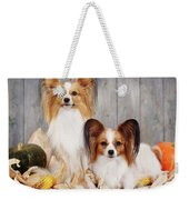cute couple dogs breed papillon by Iuliia Malivanchuk  Weekender Tote Bag