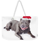 Cute Dog In Santa Hat Weekender Tote Bag