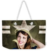 Cute Military Pin-up Woman On Army Star Background Weekender Tote Bag by Jorgo Photography - Wall Art Gallery