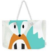 Cute Orange And Blue Fox- Art By Linda Woods Weekender Tote Bag
