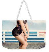 Cute Pinup Girl Looking Surprised On Beach Pier Weekender Tote Bag