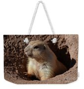 Cute Prairie Dog Climbing Out Of A Hole Weekender Tote Bag