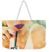 Cute Retro Girl Drinking Milkshake Weekender Tote Bag