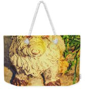 Cute Weathered White Garden Ornament Of A Dog Weekender Tote Bag