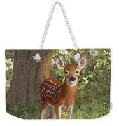 Cute Whitetail Fawn Weekender Tote Bag by Crista Forest