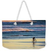 Cyclist Pedals Against The Wind At Pismo Beach Weekender Tote Bag
