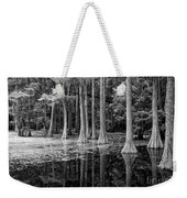 Cypresses In Tallahassee Black And White Weekender Tote Bag