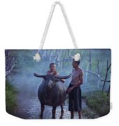 Dad And Child Happy To Live In The Countryside,thailand, Vietnam Weekender Tote Bag