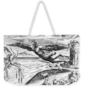 Daedalus Escaping From Crete With His Son, Icarus, Sees Him Falling To His Death Weekender Tote Bag