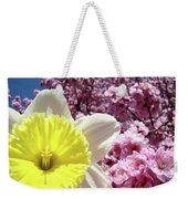 Daffodil Flower Art Prints Pink Tree Blossoms Blue Sky Baslee Weekender Tote Bag