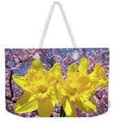 Daffodil Flowers Spring Pink Tree Blossoms Art Prints Baslee Troutman Weekender Tote Bag