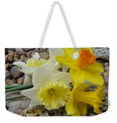 Daffodils Flower Artwork 29 Daffodil Flowers Agate Rock Garden Floral Art Prints Weekender Tote Bag