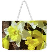 Daffodils Flower Bouquet Rustic Rock Art Daffodil Flowers Artwork Spring Floral Art Weekender Tote Bag