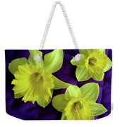 Daffodils On A Purple Quilt Weekender Tote Bag