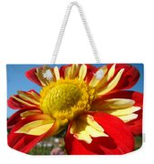 Dahlia Flower Art Prints Canvas Red Yellow Dahlias Baslee Troutman Weekender Tote Bag