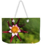 Dahlia Red White And Green Weekender Tote Bag