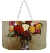 Dahlias In A Chinese Vase Weekender Tote Bag