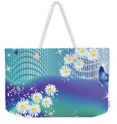 Daisies And Butterflies On Blue Background Weekender Tote Bag