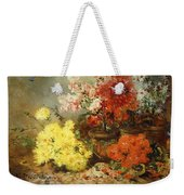 Daisies, Begonia, And Other Flowers In Pots Weekender Tote Bag