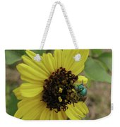 Daisy With Blue Bee Weekender Tote Bag