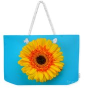 Daisy - Yellow - Orange On Light Blue Weekender Tote Bag