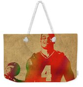 Dak Prescott Nfl Dallas Cowboys Quarterback Watercolor Portrait Weekender Tote Bag