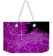 Dalian Street Map - Dalian China Road Map Art On A Purple Backgro Weekender Tote Bag