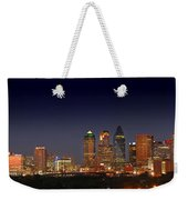 Dallas Skyline At Dusk Big Moon Night  Weekender Tote Bag
