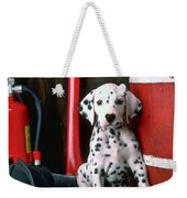 Dalmatian Puppy With Fireman's Helmet  Weekender Tote Bag by Garry Gay