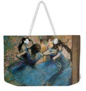 Dancers In Blue Weekender Tote Bag by Edgar Degas
