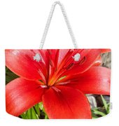 Dark Orange Red Lily Weekender Tote Bag